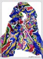 鮮やかなダマスク柄100%シルク大判ストール/スカーフ  19286