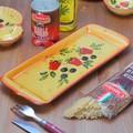 【ポルトガル製】陶器 手描き ストロベリー フルーツ柄 食器 長皿 34cm プレート イエロー