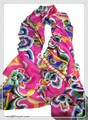 鮮やかなダマスク柄100%シルク大判ストール/スカーフ  19288【母の日】