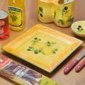 ポルトガル製 陶器 手描き レモン オリーブ柄 食器 ディナープレート(25cm)スクエア 角皿