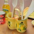 ポルトガル製 陶器 手描き レモン オリーブ柄 食器 イエロー カトラリー スタンド キッチン 収納