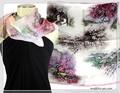 【セール】油絵風風景柄★100%シルクプチスカーフ 04182