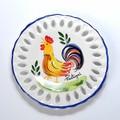 ポルトガル製 アルコバッサ 飾り皿 幸せの チキン柄 プレート ハンドペイント 絵皿 15cm 壁掛け