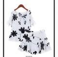 大きいサイズ☆フラワー刺繍セットアップ トップス・スカート2点セット