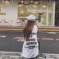 大きいサイズ☆フード付バックロゴチュニックTシャツ