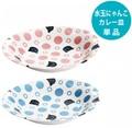 ■美濃焼単品■水玉にゃんこ楕円カレー皿2種(ピンク・ブルー)