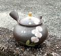 ■常滑焼急須【ジパング・常滑/セラメッシュ】昭龍天目釉珠型胡蝶蘭茶注