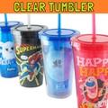 アメリカンキャラクター クリアタンブラー * ストロー付きプラスチック製タンブラー♪アメリカン雑貨