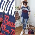 コットンスラブ刺繍ロゴ+プリントTシャツ