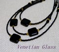 ★【イタリア製】ヴェネチアングラス!手作り3連ネックレス(イタリアベネチアングラス)