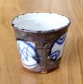 ■常滑焼【made in japan/煎茶用湯呑】石堂灰粉引藍紋湯呑