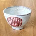 ■常滑焼【made in japan/焙じ茶用湯呑】石堂粉引朱丸紋湯呑
