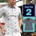 鹿の子 南国風 総柄プリントポロシャツ 半袖ポロシャツ polo shirt カジュアル シンプル
