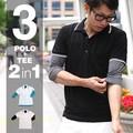 2枚セット 鹿の子衿ラインポロシャツ 7分丈Tシャツ set 半袖ポロシャツ polo shirt