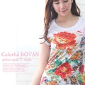 ☆NEW!【2016夏新作】☆カラフルBOTANプリントオパール加工Tシャツ☆Sweet&Conscious