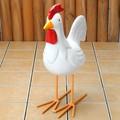 ポルトガル製 テラコッタ 素焼き 陶器 白 雄鶏 チキン ガーデニング オブジェ