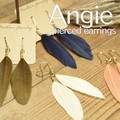 NEW【Angie】 リアルフェザー羽根 A ゴールド ピアス!4色展開。シンプル&フェミニン!