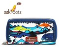 ☆アメリカで大人気!☆【sakroots】 長財布  Artist Circle Double Zip Wallet Aqua Water Nation