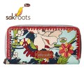 ☆アメリカで大人気!☆【sakroots】 長財布  Artist Circle Double Zip Wallet Seafoam Flower Power