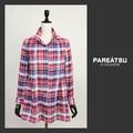 ☆SALE☆【PAREATSU・A/W】フランス生地・シャーリングチェック・スタンドカラーロングシャツ