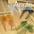NEW【Angie】 リアルフェザー羽根 B ゴールド イヤリング!4色展開。シンプル&フェミニン!