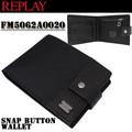 【激安!】REPLAY リプレイ ユニセックス スナップボタン 2つ折り財布<ラスト3点>