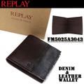 【激安!】REPLAY リプレイ レザー×デニム 切り替え 2つ折り財布 カードケース<ラスト4点>