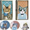 【レトロかわいい】猫 カードケース&グラストレー