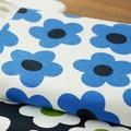 【生地】【布】【コットン】北欧フラワー - ブルー デザインファブリック