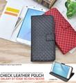 <スマホケース>Galaxy S7 edge SC-02H/SCV33用市松模様デザインスタンドケースポーチ