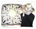 ファンタジーファッション&豹柄★100%シルクプチスカーフ 04201