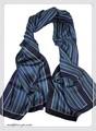 【セール】男女兼用ストライプ柄100%シルクスカーフ 14906【母の日】