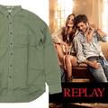 ◆お買い得春夏商材◆★最終処分★REPLAY リプレイ メンズ リネン サマーシャツ<KHAKY><ラス2点>