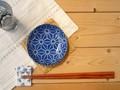 【藍komon】小皿/麻の葉/10x2.5cm/単品5個入(発注単位5)/MADE IN JAPAN