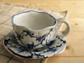 【染付】花絵コーヒー碗皿/8x5.5cm/単品/MADE IN JAPAN