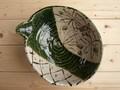 【土物の器】織部間取花片口大鉢/24.5x21x10cm/鉢/単品/MADE IN JAPAN