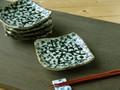 【土物の器】染付タコ唐草銘々皿揃/15x14x4.5cm/セット/MADE IN JAPAN