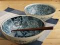 【染付絵変り】ペア麺鉢/21x8cm/MADE IN JAPAN