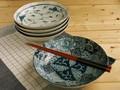 【染付絵変り】7.0深皿揃/21x5cm/セット/MADE IN JAPAN