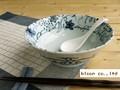 【染付ラーメン】染付つた絵ラーメン鉢/19.5x7cm/5個入/MADE IN JAPAN