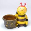 ポルトガル製 テラコッタ 陶器 ポット みつばち パパ ポット 付 オーナメント 置物 雑貨 ガーデン