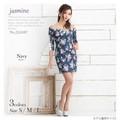 【Jasmine10月新作】216087 オフショル五分袖水彩風薔薇転写プリントミニドレス