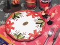 【イタリア製】クリスマス おしゃれ 食器 テーブルウェア 白 赤 陶器 ハンドメイド 中皿 リボン 柊