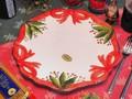 【イタリア製】クリスマス おしゃれ 食器 ディナープレート 南欧食器 陶器 ハンドメイド 大皿 リボン 柊