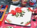 【イタリア製】クリスマス おしゃれ 食器 テーブルウェア 陶器 ハンドメイド 角皿 リボン 柊