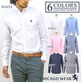 Chicago Wear オックスフォードシャツ ワンポイント刺繍 長袖 メンズ ボタンダウン
