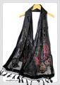 ビロード風アニマル蝶々柄ビーズ刺繍入りストール 9900c