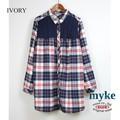 【特別価格】◆2016AW新作◆ビエラチェック×ケーブルヨークチュニックシャツ/myke/AW