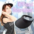 【在庫限り処分特価】UVカットクリップサンバイザー ブラック シンプル 紫外線対策 デコ 素材