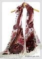 ビロード風ペーズリーフラワー柄ビーズ刺繍入りストール 9901b
